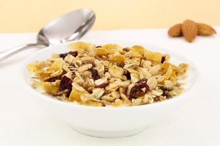 leckere und gesunde Vollkorn-Müsli-Frühstück, mit vielen Trockenfrüchte, Nüsse und Getreide
