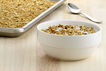 delicious and healthy granola, with lots of dry fruits, nuts and grains photo