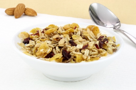 delicious and healthy wholegrain muesli breakfast, with lots of dry fruits, nuts and grains photo