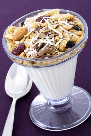 delicious healthy parfait made with creamy yogurt and crunchy granola Stock Photo - 9996937