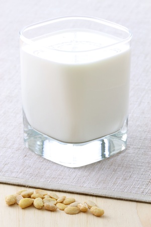 fresh and healthy glass of soy milk made with organic soybeans photo