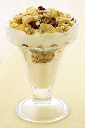 delicious and healthy yogurt and granola, with lots of dry fruits, nuts and grains  photo