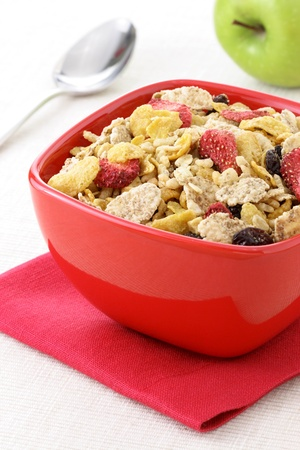 healthy strawberries and riceflakes cereal with milk, part of a healthy nutrition program photo
