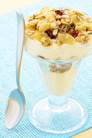 delicious healthy parfait made with creamy yogurt and crunchy granola photo