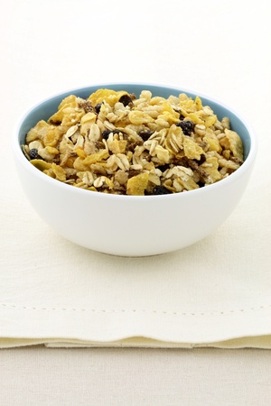 cereal bowl: delicious and healthy granola or muesli, with lots of dry fruits, nuts and grains.