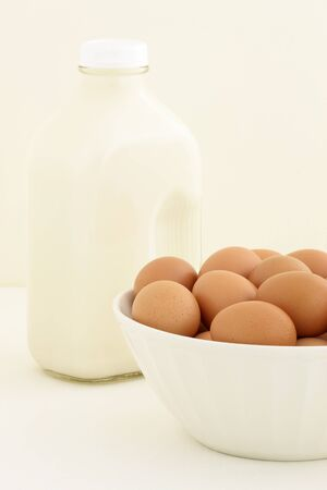 Milk and eggs fresh, basic baking ingredients Stock Photo - 13209836