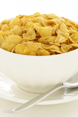delicious and healthy  corn flakes, served in a beautiful French Cafe au Lait Bowl photo