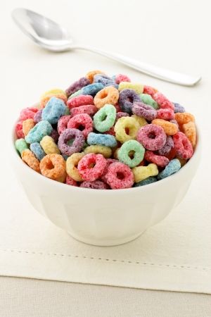 delicious and nutritious fruit cereal loops flavorful, healthy and funny addition to kids breakfast Stock Photo - 13663194