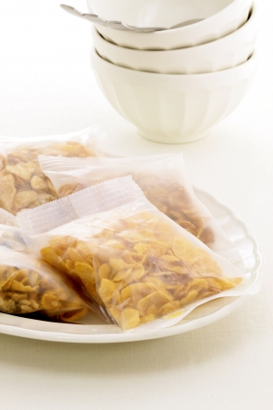 delicious, healthy and assortes cereal bags with French Cafe au Lait Bowls  photo