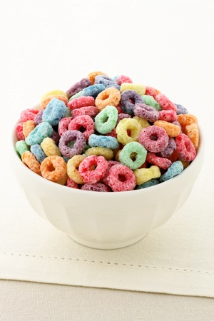 delicious and nutritious fruit cereal loops flavorful, healthy and funny addition to kids breakfast Stock Photo