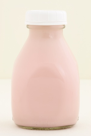 Delicious, nutritious and fresh Strawberry milk pint, made with organic real strawberry fruit  photo
