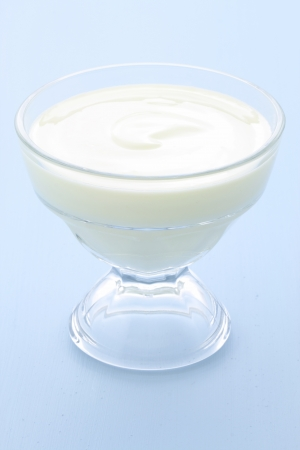 fresh and delicious creamy yogurt, healthy smooth snack, perfect at any time. photo