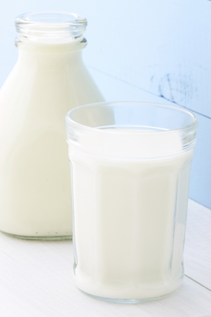 casein: Delicious nutritious and fresh Milk Bottle and glass of milk