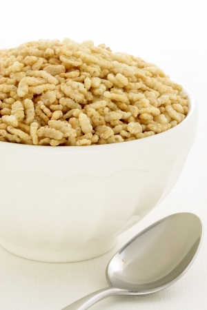 bran: Delicious and nutritious crisped rice cereal, served in a beautiful French Cafe au Lait Bowl