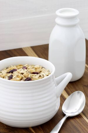 Delicious and nutritious lightly toasted breakfast muesli or granola cereal  Stock Photo - 17205493