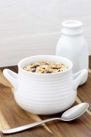 Delicious and nutritious lightly toasted breakfast muesli or granola cereal  photo