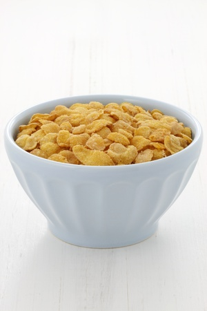 delicious and healthy corn flakes, served in a beautiful French Cafe au Lait Bowl Stock Photo - 17999558