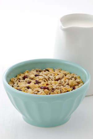 Delicious and nutritious lightly toasted breakfast muesli or granola cereal. Stock Photo - 18093137