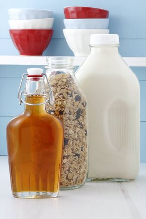 Muesli, delicious and healthy breakfast, meal or snack food; popular around the world, and often eaten in combination with yogurt or milk Stock Photo - 18308182