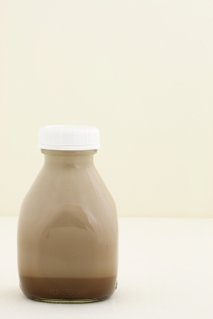 Delicious, nutritious and fresh Chocolate milk pint, made with organic real cocoa mass photo