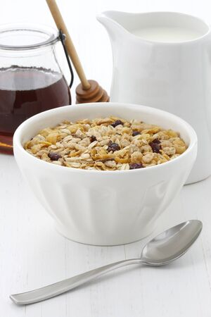 musli: Delicious and nutritious lightly toasted breakfast muesli or granola cereal.
