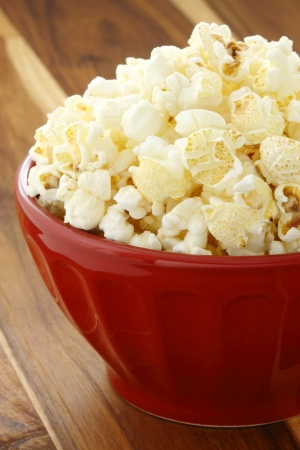 popped: Delicious box of movie popcorn healthy and delicious snack for adults and kids alike. Stock Photo