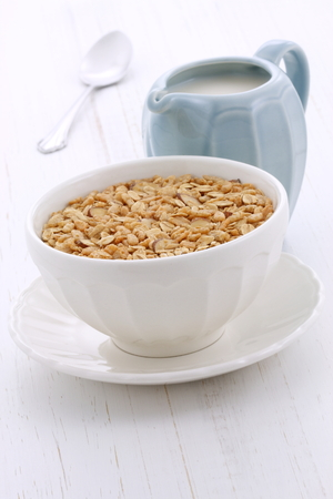Delicious and nutritious lightly toasted breakfast muesli or granola cereal. photo