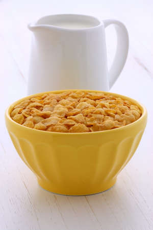 Delicious and nutritious breakfast corn flakes on retro vintage styling photo