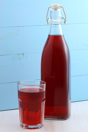 cranberry juice: delicious and nutritious, organic cranberry juice, the healthy way to start your day. Stock Photo