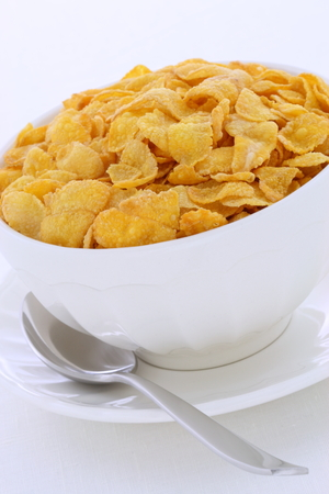 Delicious and nutritious breakfast corn flakes on retro vintage styling Stock Photo
