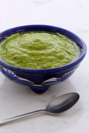 Mexican guacamole, prepared with fresh avocados, lemon juice, vinegar and hot and sweet peppers, on artisan  talavera pottery bowl