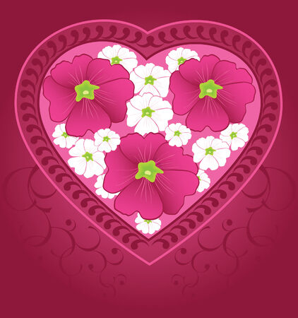 Heart with flowers within  illustration  Иллюстрация