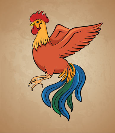 Colorful rooster - stock illustration Illustration