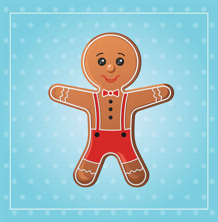 Funny gingerbread man on a blue background vector illustration.