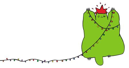 Green cat pretending to be a christmas tree. Vector. For more charecters please see my portfolio Vector