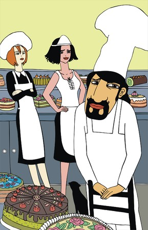 A chef and two cute waitress in a cake-shop. Vector illustration. Illustration