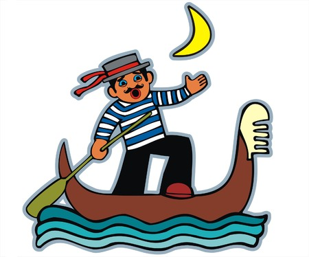 Gondolier singing on the boat. White background. Vector illustration. For more charecters please see my portfolio Vector