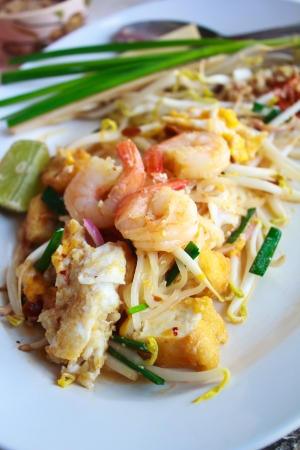 Stir-fried rice noodles (Pad Thai ) with shrimps. photo