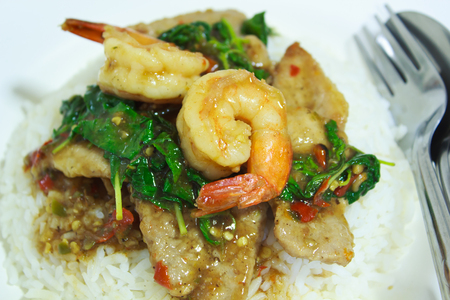 Spicy basil shrimp and pork Fried with rice, Thai food. photo