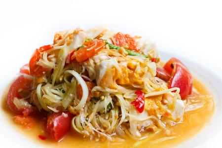 papaya salad, popular of thai food. photo