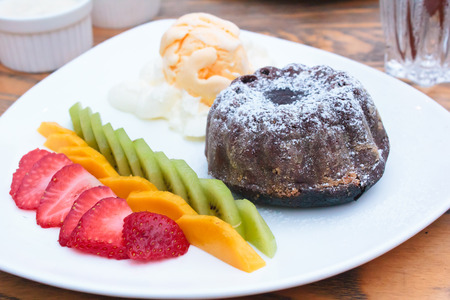 chocolate lava cake with ice cream, restaurant  photo