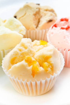 cottonwool: muffin cup cake or cotton-wool cake, dessert thailand. Stock Photo