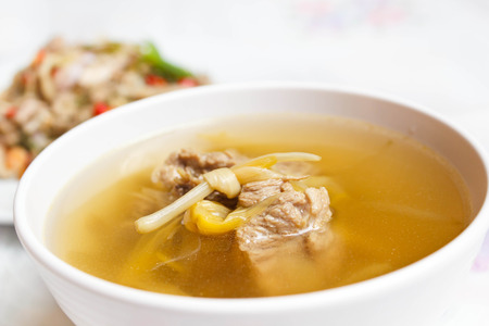 Chinese style soup with day lily and sparerib.