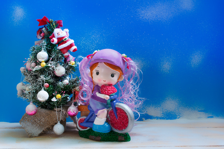 christmas tree decoration with toy and gift, christmas concept. photo