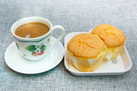 butter icing: dessert ,cakes or soft cake and coffee, coffee break.