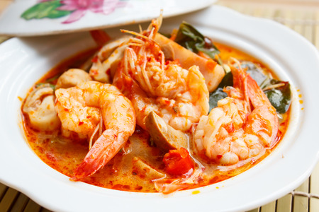 yum: Tom Yum Goong, spicy soup with shrimp - thai Cuisine.