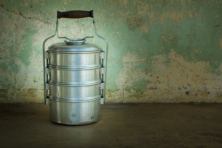 food containers at asian kitchen, still life. photo