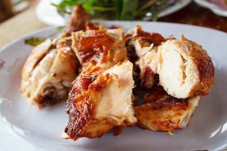 chicken breast: grilled chicken on plate, style thai food.