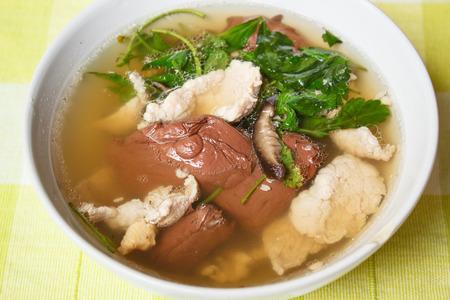 entrails: Porks Entrails and Blood Jelly Soup, Pork blood soup, Famous Asian Soup. Stock Photo