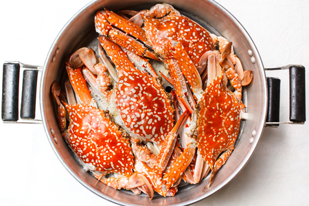 marina life: Steamed crab, seafood thai style at restaurant. Stock Photo
